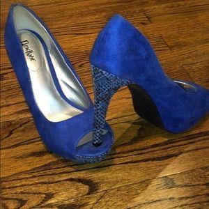 Blue Suede and Snakeskin heels/ stilettos